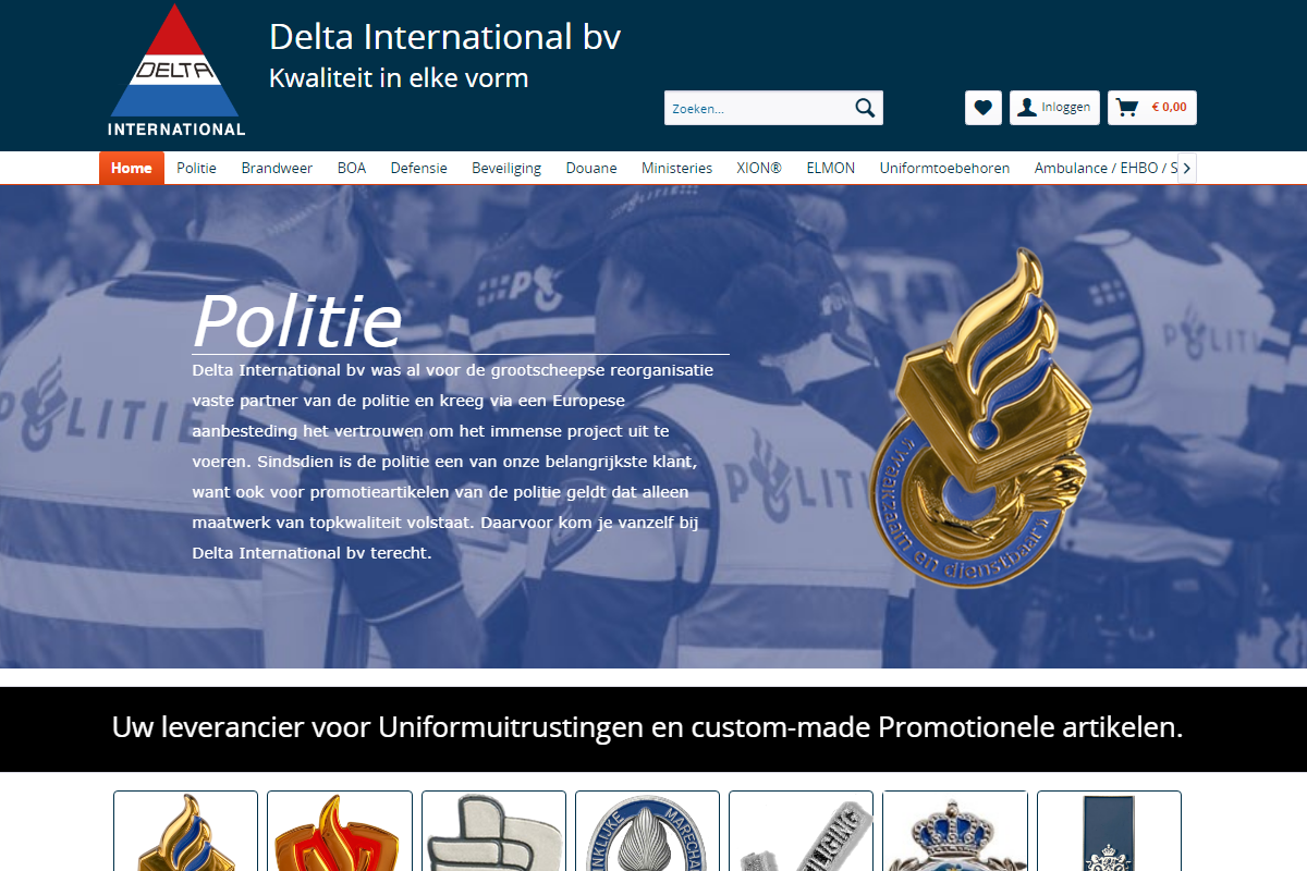 Delta International frontpage